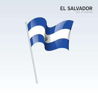 Vlag van el salvador zwaaien geïsoleerd op grijs