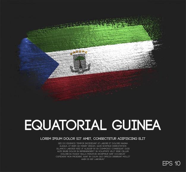 Vlag van equatoriaal guinee gemaakt van glitter sparkle brush paint