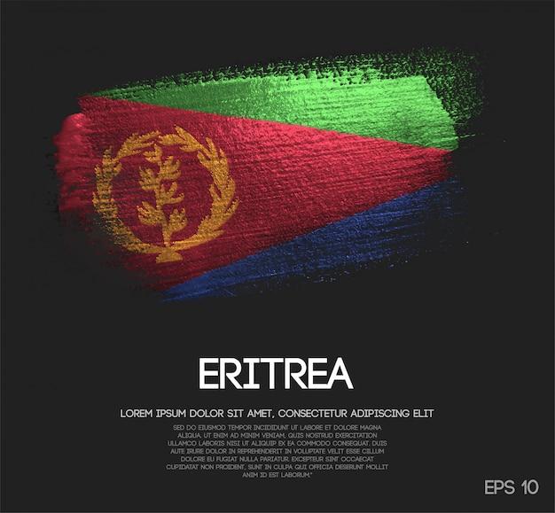 Vlag van eritrea gemaakt van glitter sparkle brush paint