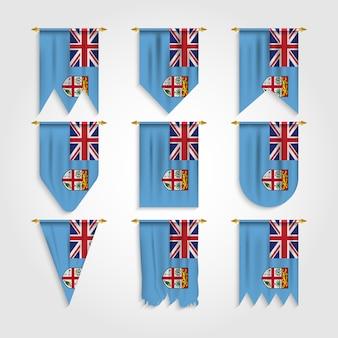 Vlag van fiji in verschillende vormen, vlag van fiji-eilanden in verschillende vormen