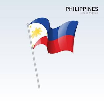 Vlag van filipijnen zwaaien geïsoleerd op grijs