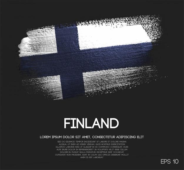Vlag van finland gemaakt van glitter sparkle brush verf vector