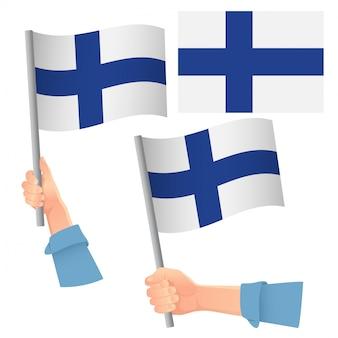Vlag van finland in de hand set