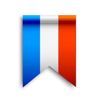 Vlag van frankrijk. realistisch lint.