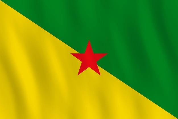 Vlag van frans-guyana met zwaaieffect, officiële verhouding.
