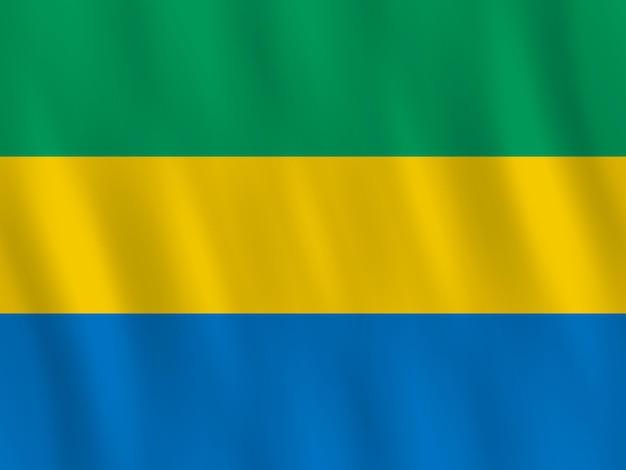 Vlag van gabon met golvend effect, officiële verhouding.