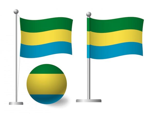 Vlag van gabon op het pictogram van de paal en de bal
