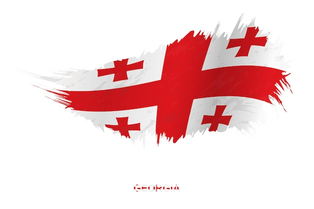 Vlag van georgië in grunge stijl met wuivende ingang, vector grunge penseelstreek vlag.