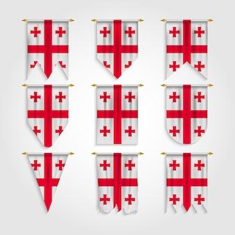Vlag van georgië in verschillende vormen