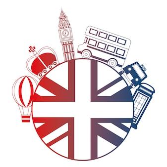 Vlag van groot-brittannië met de pictogrammen van londen