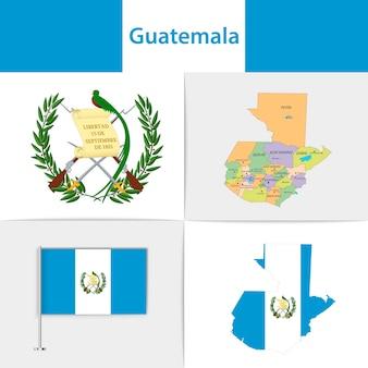 Vlag van guatemala kaart en wapenschild