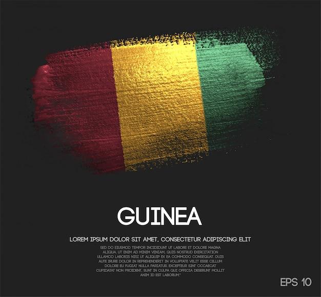 Vlag van guinee gemaakt van glitter sparkle brush paint