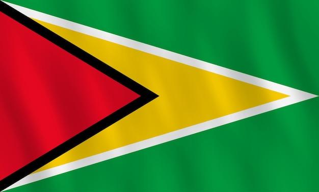 Vlag van guyana met zwaaieffect, officiële proportie.