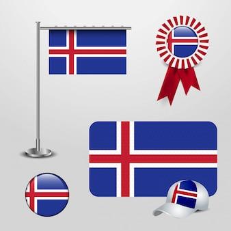 Vlag van het land van ijsland haning op paal, lint badge banner, sport hoed en ronde knop