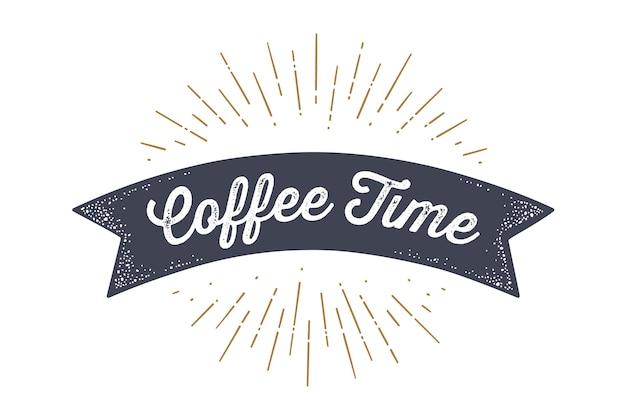 Vlag van het lint in vintage stijl met tekst koffie tijd, sunburst en stralen van de zon