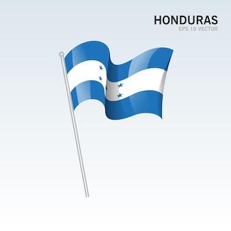 Vlag van honduras zwaaien geïsoleerd op grijs