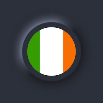 Vlag van ierland. nationale vlag van ierland. iers symbool. vector illustratie. eps10. eenvoudige pictogrammen met vlaggen. neumorphic ui ux donkere gebruikersinterface. neumorfisme