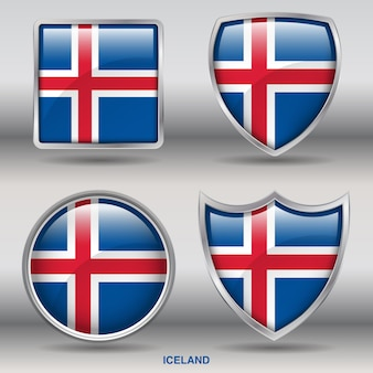 Vlag van ijsland bevel 4 vormen pictogram