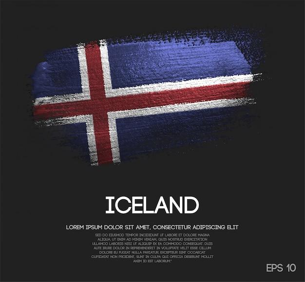 Vlag van ijsland gemaakt van glitter sparkle brush paint