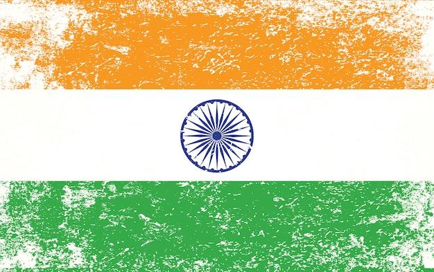 Vlag van india met grunge stijl premium vector