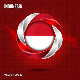 Vlag van indonesië pin 3d-ontwerp