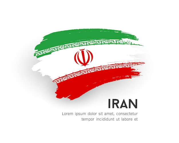 Vlag van iran vector penseelstreek ontwerp geïsoleerd op een witte achtergrond afbeelding
