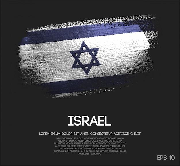 Vlag van israël gemaakt van glitter sparkle brush paint