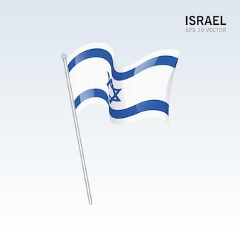 Vlag van israël zwaaien geïsoleerd op grijs Premium Vector