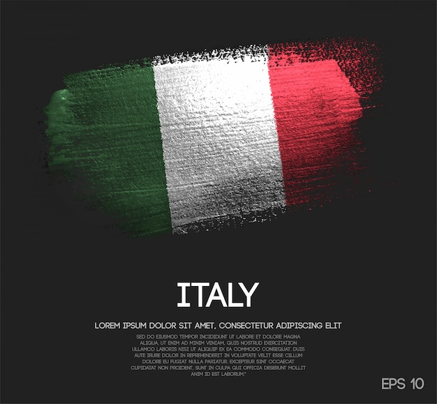 Vlag van italië gemaakt van glitter sparkle brush paint