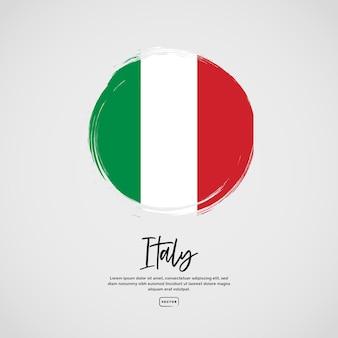 Vlag van italië met penseelstreekeffect en tekst