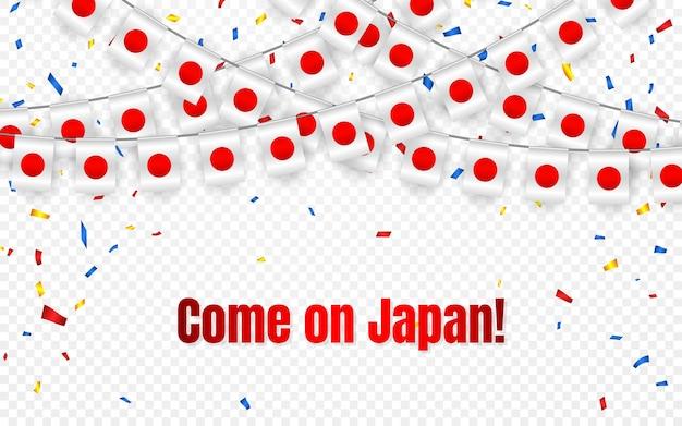Vlag van japan garland met confetti op transparante achtergrond, hang gors voor viering sjabloon banner,