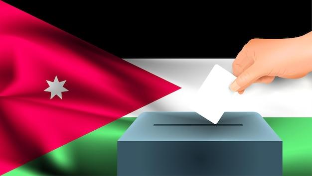 Vlag van jordanië, mannenhand legt een wit vel papier neer met een teken als symbool van een stembiljet tegen de achtergrond van de vlag van jordanië, jordanië het symbool van verkiezingen