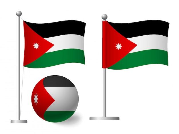 Vlag van jordanië op paal en bal pictogram