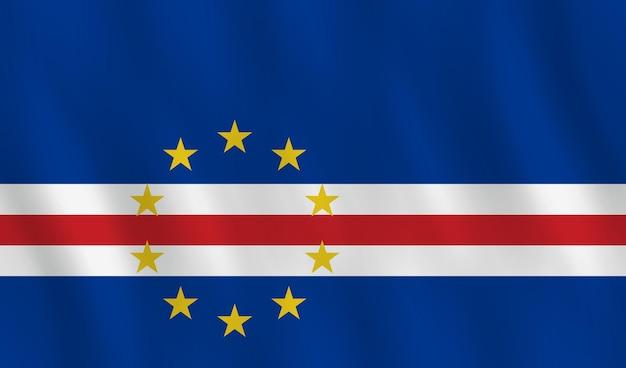 Vlag van kaapverdië met golvend effect, officiële verhouding.