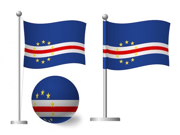 Vlag van kaapverdië op pole en ball pictogram