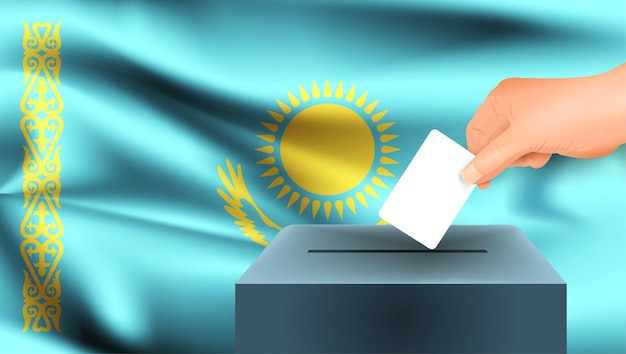 Vlag van kazachstan een mannenhand stemmen met de vlag van kazachstan achtergrond