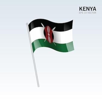 Vlag van kenia zwaaien geïsoleerd op grijs