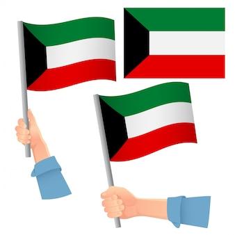 Vlag van koeweit in de hand set