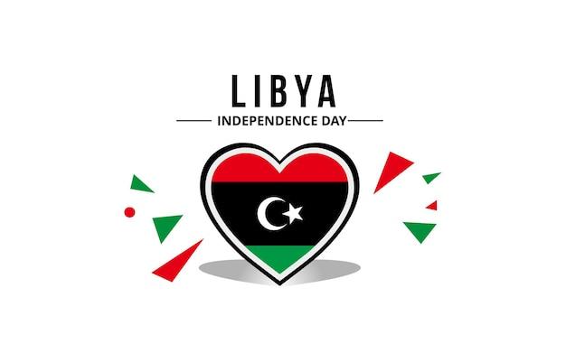Vlag van libië in het midden van een hartornament met originele kleur
