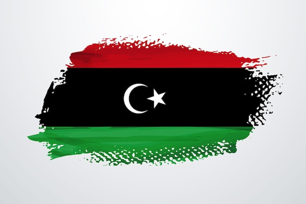 Vlag van libië met penseelverf