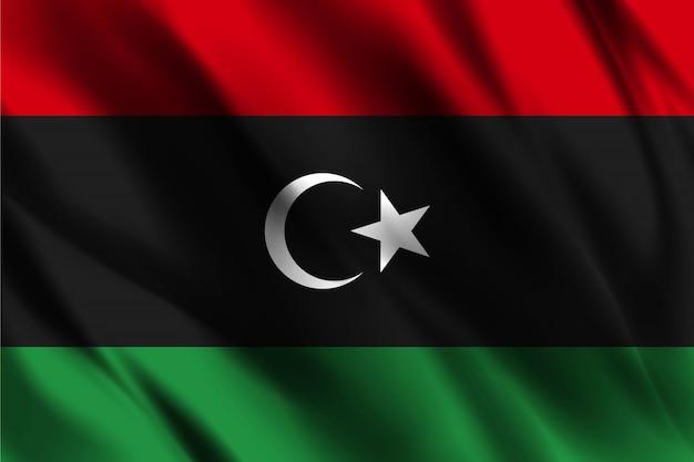 Vlag van libië zwaaien abstracte achtergrond