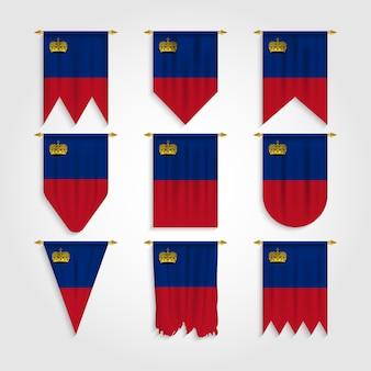 Vlag van liechtenstein in verschillende vormen