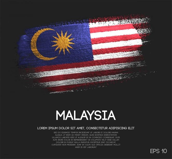 Vlag van maleisië gemaakt van glitter sparkle brush paint