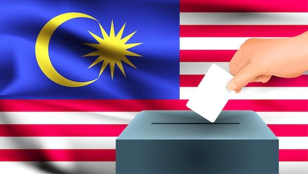 Vlag van maleisië, mannenhand stemmen met maleisië vlag concept idee achtergrond