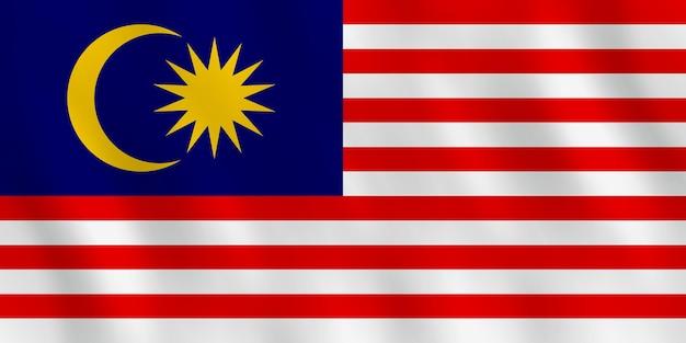 Vlag van maleisië met zwaaieffect, officiële proportie.