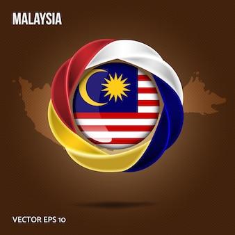 Vlag van maleisië pin 3d-ontwerp