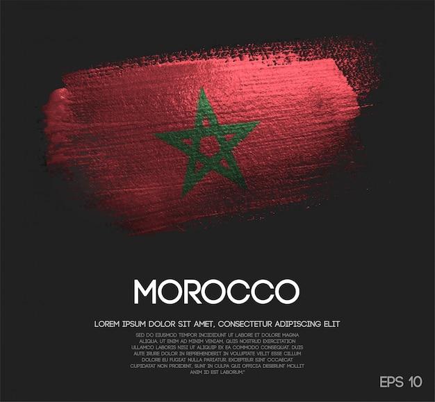 Vlag van marokko gemaakt van glitter sparkle brush paint