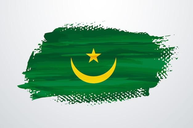 Vlag van mauritanië met penseelverf