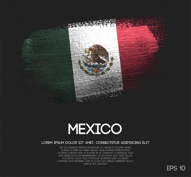 Vlag van mexico gemaakt van glitter sparkle brush paint