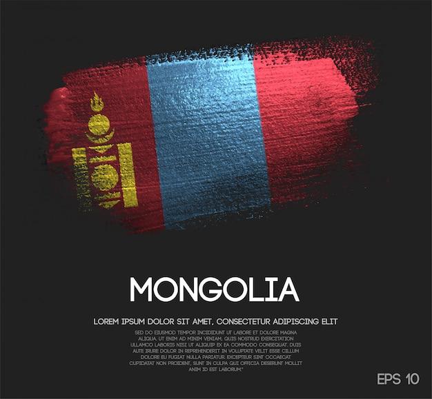 Vlag van mongolië gemaakt van glitter sparkle brush paint